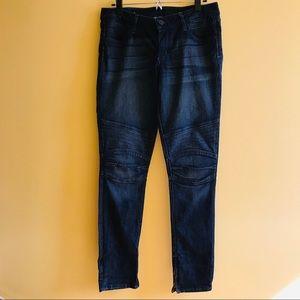 J & Company motorcycle blue skinny jeans zip ankle